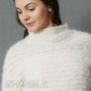 Sweter ecru, sweter, lekki, alpaka, wełniany, półgolf, dziergany