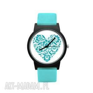 ludowelove zegarek z silikonowym paskiem turkusowe serce, romantyczny, folklor