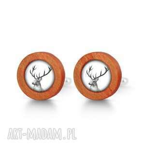 LiliArts - jeleń - drewniane spinki do mankietów red - spinki mankietów męskie