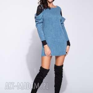 Sukienka sweetrowa mini z marszczonym rękawem, swetrowa, na-jesień, dzienna,