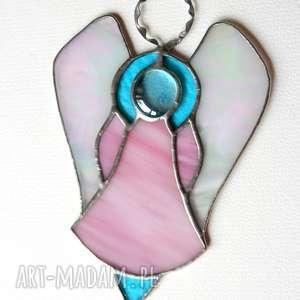 witrażowy anioł rozalka pastelowa, witraż, anioł, szczęście, prezent, komunia