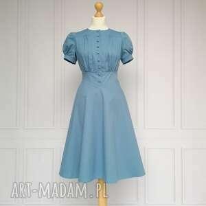 Carla sukienka w stylu retro, niebieska sukienki lalu sukienka