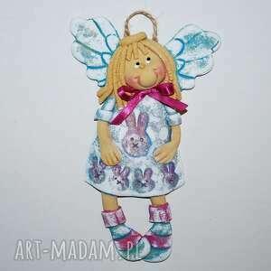 mam zajączki anioł z masy solnej, aniołek, masa solna, prezent, na ścianę