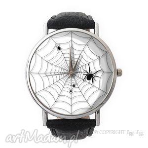 pajęczyna - skórzany zegarek z dużą tarczą - skórzany, zegarek