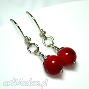 czerwone korale - kolczyki, biżuteria, artystyczna, autorska, srebro, koral