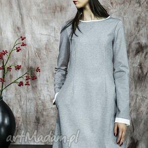 popielata sukienka z białym mankietem - sukienka, mankiety, elegancka, bawełna