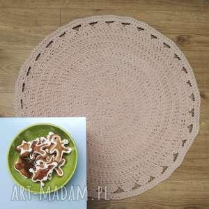 pufpufpolska dywanik kremowy dziergany na szydełku, dywan, dziergany, pleciony