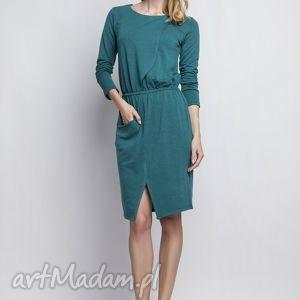sukienka, suk109 zielony, asymetryczna, kieszeń, casual, zielona, midi