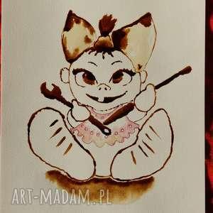 Córunia Tatunia - obraz kawą i piórem malowany, babyshower, coffeepainting, córunia