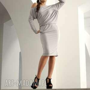 ręczne wykonanie sukienki asymetryczna z marszczeniem, rozm. 38