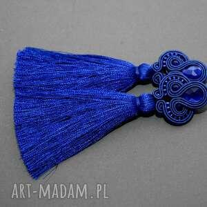kobaltowe klipsy sutasz, sznurek, eleganckie, wiszące, wieczorowe, długie, chwost
