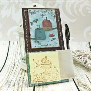 notes na lodówkę- w starym kredensie, notes, kawa, na, lodówkę, magnes, notatnik