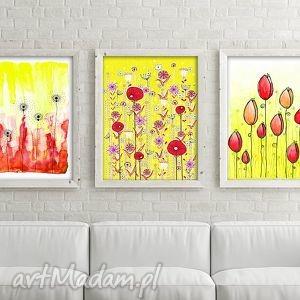 Zestaw 3 prac A3, łąka, kwiaty, maki, plakat, rysunek