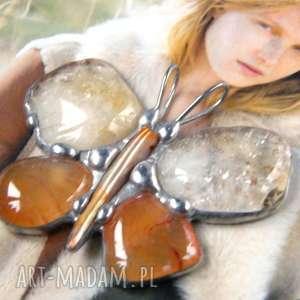 wisiorek motyl cytrynowo-pomarańczowy, motyl, z kamieni