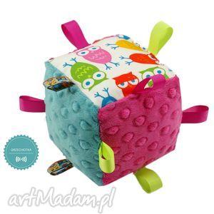 ręcznie robione zabawki kostka sensoryczna grzechotka, wzór sowy