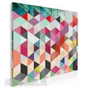 Obraz na płótnie - abstrakcja trójkąty w kwadracie 80x80 cm