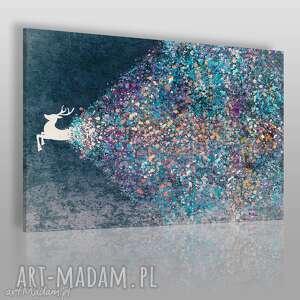 obraz na płótnie - jeleń niebieski 120x80 cm 49403, jeleń, artystyczny, kolory