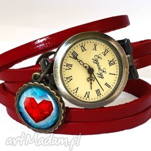 hand made zegarki serce - zegarek / bransoletka na skórzanym pasku