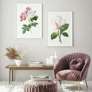 zestaw 2 plakatów #25 61x91 cm, obraz, plakat, kwiaty, róża, magnolia