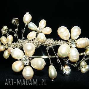 Opaska ślubna z pereł naturalnych, opaska, ślub, perły, kryształki, kwiaty