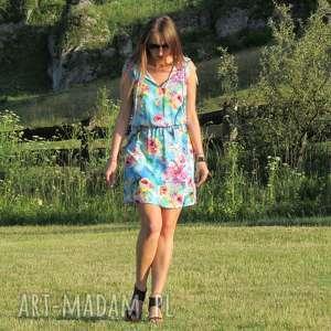 39-letnia sukienka w kwiaty, lalu, sukienka, wiskoza, kolorowa, letnia