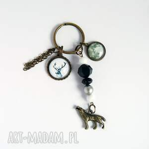 breloki breloczek - jeleń, księżyc, wilk, breloczek, do kluczy, księżyc