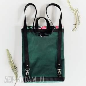 plecak teczka butelkowa zieleń - Ręcznie robione