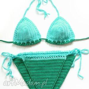 Plażowy - szmaragd z turkusem, bikini, opalacz, szydełkowy, bawełna, kostium, plażowy