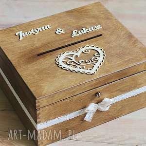 ślub pudełko z kluczykiem - koronka i duże serce