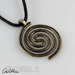 spiralny - mosiężny wisiorek 210305-03, wisiorek, prosty naszyjnik