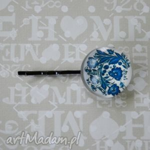 Niebieskie kwiaty ozdoby do włosów fascynatory kwiaty, spinka,