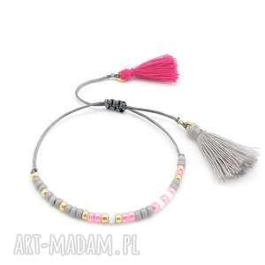 bransoletka minimal - powder pink, bransoletka, boho, chwosty, letnia, lato