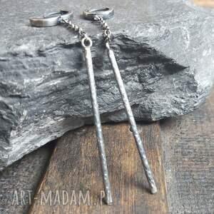 długie kolczyki srebrne, słupki, długie