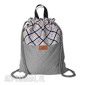 plecak szary kafle z pikowanym spodem, plecak, worek, worko