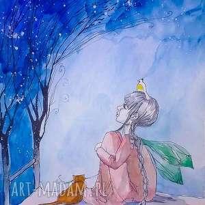 pomarz ze mnĄ akwarela artystki plastyka adriany laube - akwarela, elf, kot