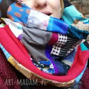 kominy komin patchworkowy zimowy boho handmade kolorowy ciepły, komin, etno