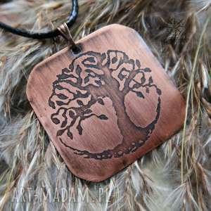 Wisior z trawionej miedzi - Drzewo Życia [036], drzewo, życia, drzewa, las, miedź
