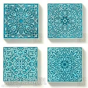 Dekory cztery ornamenty w turkusie., dekory, kafle, arabeski, płytki, kafle-ścienne