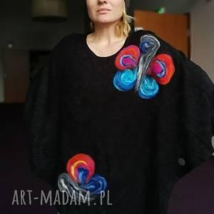 hand made tuniki poncho z dzianiny wełnianej czarne idealne na wiosne
