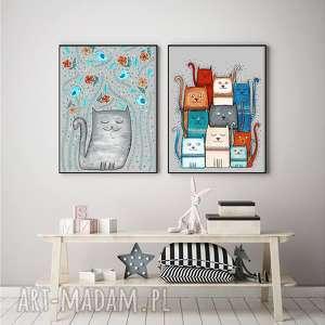 Zestaw 2 prac 40x50cm, kot, koty, kotek, sztuka, ilustracja, obrazek