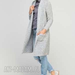 Długi, ciepły sweter, SWE112 szary, casual, ciepły, płaszczyk, kieszenie, długi