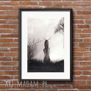 grafika A4 malowana ręcznie, minimalizm, abstrakcja czarno-biała, ilustracja, plakat