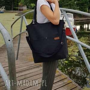 duża torba- czarna plecionka, duża torba shoperka, torebką na ramię