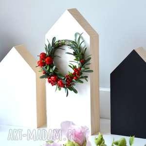 dekoracje 3 domki drewniane z wiankiem, domki, domek, drewniane, drewna, wianek