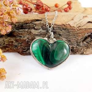 naszyjniki serduszko z malachitu - wisiorek, malachit, serce, kamień naturalny