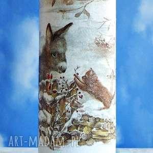 magisches-atelier dekoracja butelka ręcznie malowana z - święta