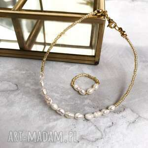 bransoletka, pierścionek - perły, pierścionek, złoto