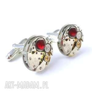 spinki - round iii red diamond, spinki, prezent, cyrkonia