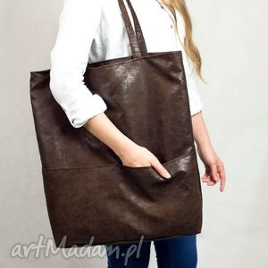 Kangoo L J. Brown , torba, duża, wielka, brązowa, zamszowa