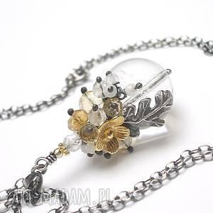 Kryształowa kula - naszyjnik, srebro, kamienie, minerały, cytryn,